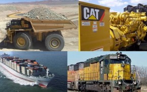 Collage genset-camion-barco-tren